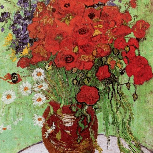 Red Poppies and Daisies Vincent Van Gogh Art Reproduction
